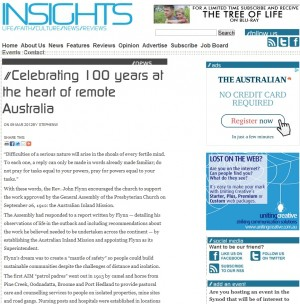 Insights – 'Celebrating 100 years at the heart of remote Australia'