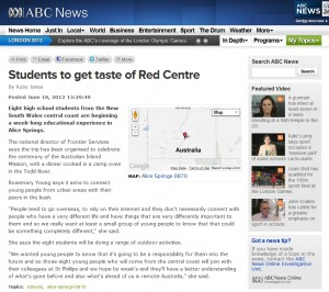 ABC News – 'Students to get taste of Red Centre'