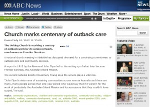 ABC News – 'Church marks centenary of outback care'