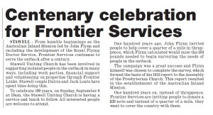 "Ararat Advertiser – ""Centenary celebration for Frontier Services"""