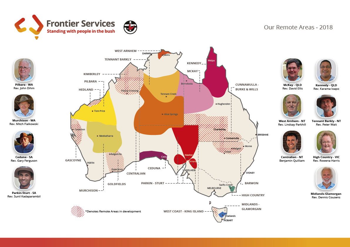 Frontier Services Remote Area Map for 2018 including Frontier Services' Bush Chaplains