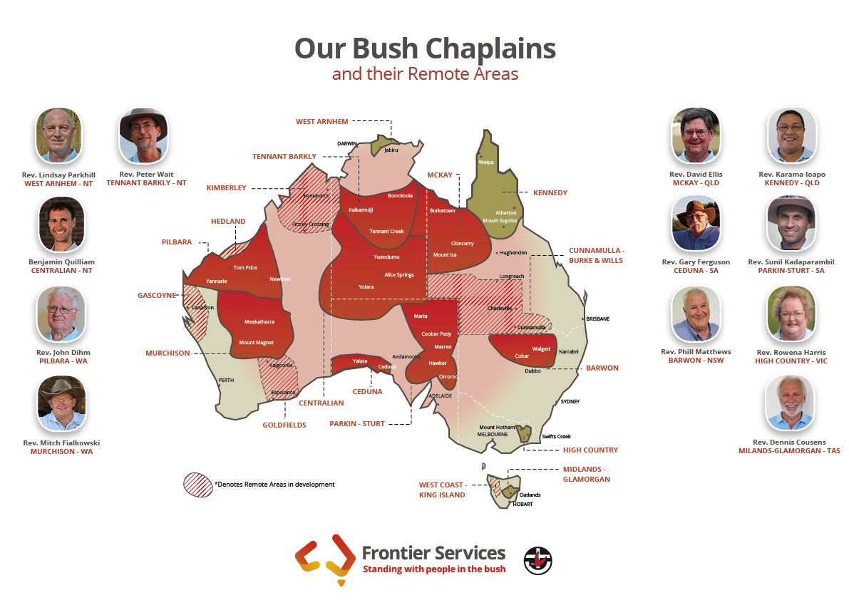 Frontier Services - Remote Area Map with Bush Chaplains